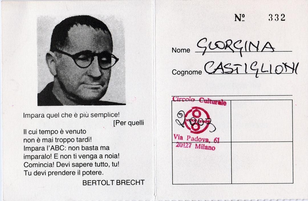 Tessera Bertold Brecht Giorgina Castiglioni