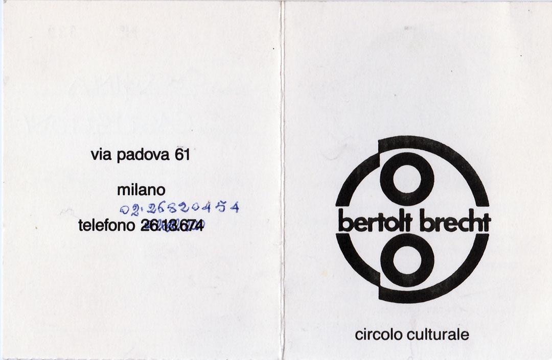 circolo culturale Bertold Brecht milano
